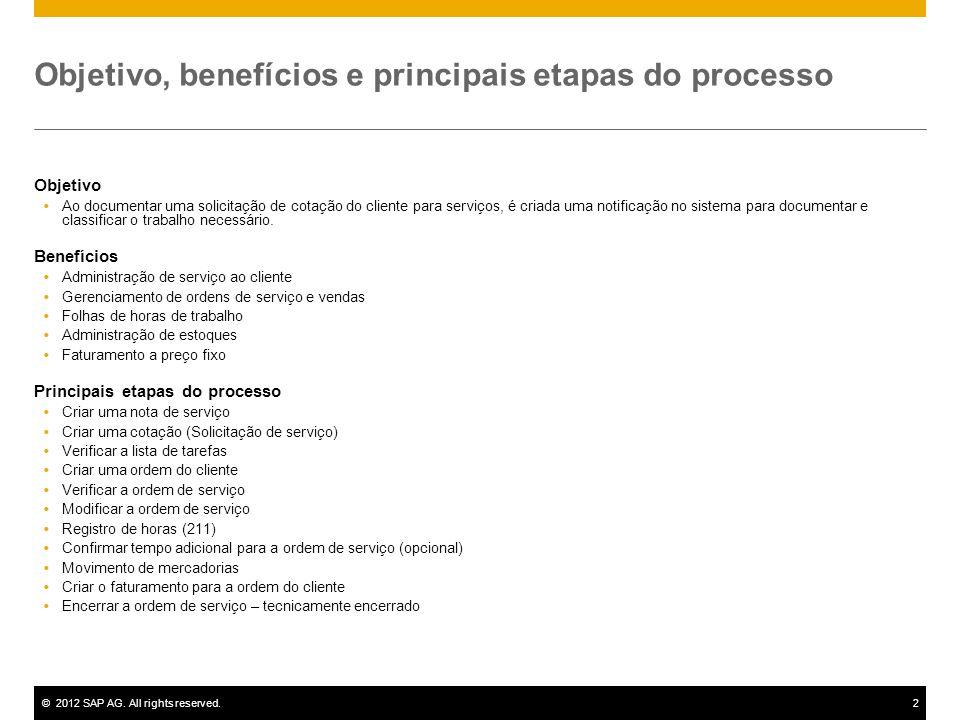 ©2012 SAP AG. All rights reserved.2 Objetivo, benefícios e principais etapas do processo Objetivo Ao documentar uma solicitação de cotação do cliente