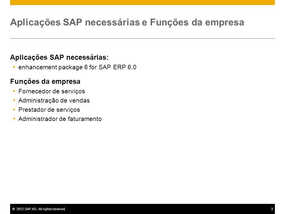 ©2012 SAP AG. All rights reserved.3 Aplicações SAP necessárias e Funções da empresa Aplicações SAP necessárias: enhancement package 6 for SAP ERP 6.0