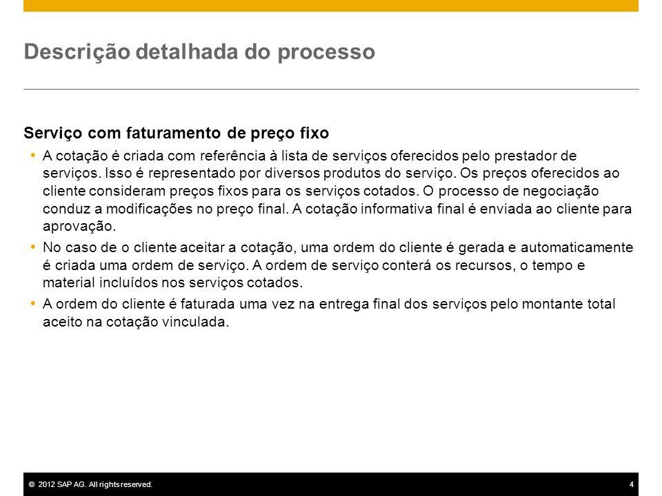 ©2012 SAP AG. All rights reserved.4 Descrição detalhada do processo Serviço com faturamento de preço fixo A cotação é criada com referência à lista de