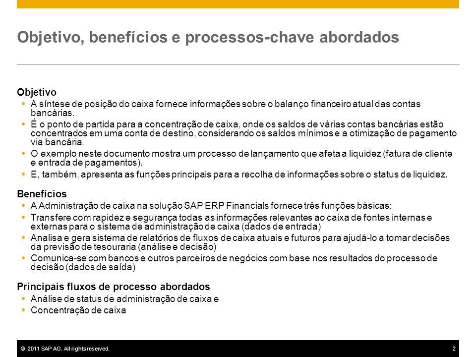 ©2011 SAP AG. All rights reserved.2 Objetivo, benefícios e processos-chave abordados Objetivo A síntese de posição do caixa fornece informações sobre