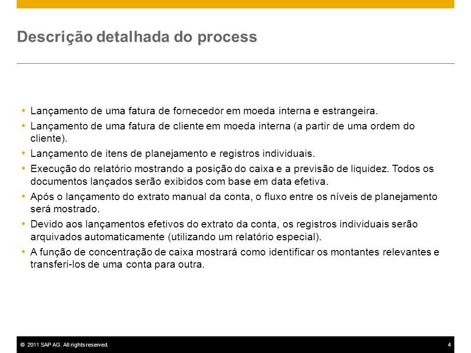 ©2011 SAP AG. All rights reserved.4 Descrição detalhada do process Lançamento de uma fatura de fornecedor em moeda interna e estrangeira. Lançamento d