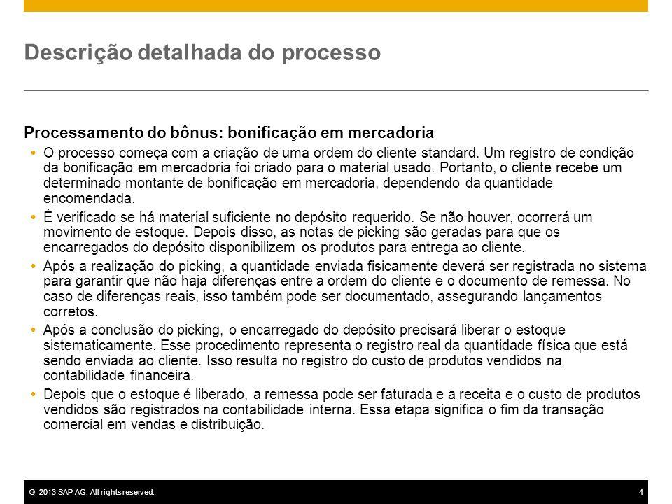 ©2013 SAP AG. All rights reserved.4 Descrição detalhada do processo Processamento do bônus: bonificação em mercadoria O processo começa com a criação