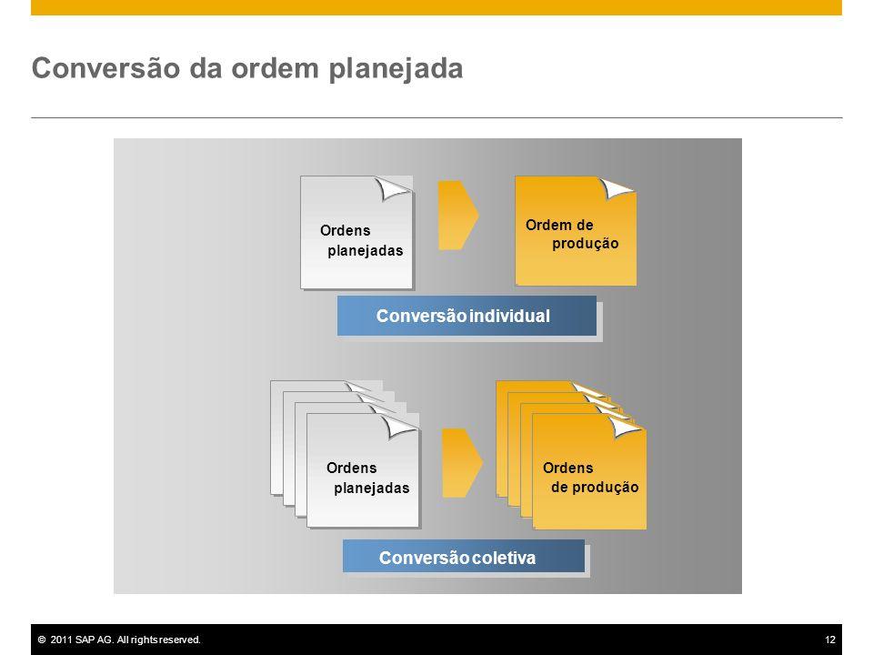 ©2011 SAP AG. All rights reserved.12 Conversão individual Ordens planejadas Ordens de produção Conversão coletiva Conversão da ordem planejada Ordem d