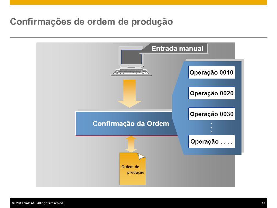 ©2011 SAP AG. All rights reserved.17 Confirmação da Ordem...... Entrada manual Confirmações de ordem de produção Ordem de produção Operação 0010 Opera