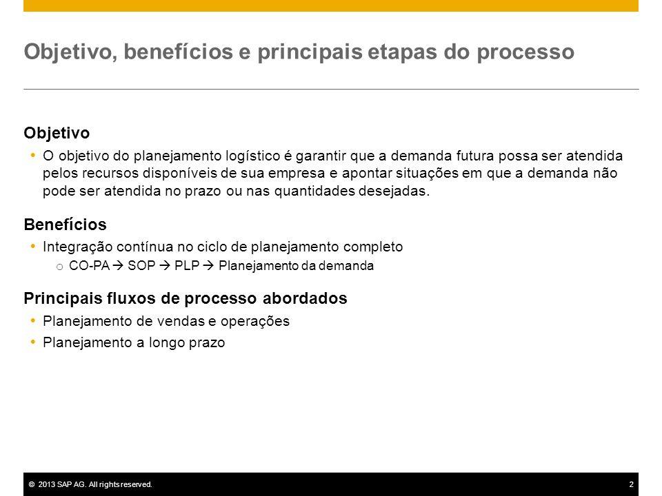 ©2013 SAP AG. All rights reserved.2 Objetivo, benefícios e principais etapas do processo Objetivo O objetivo do planejamento logístico é garantir que