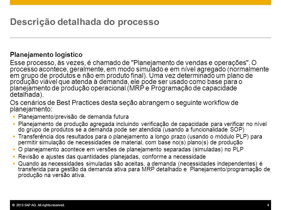 ©2013 SAP AG. All rights reserved.4 Descrição detalhada do processo Planejamento logístico Esse processo, às vezes, é chamado de