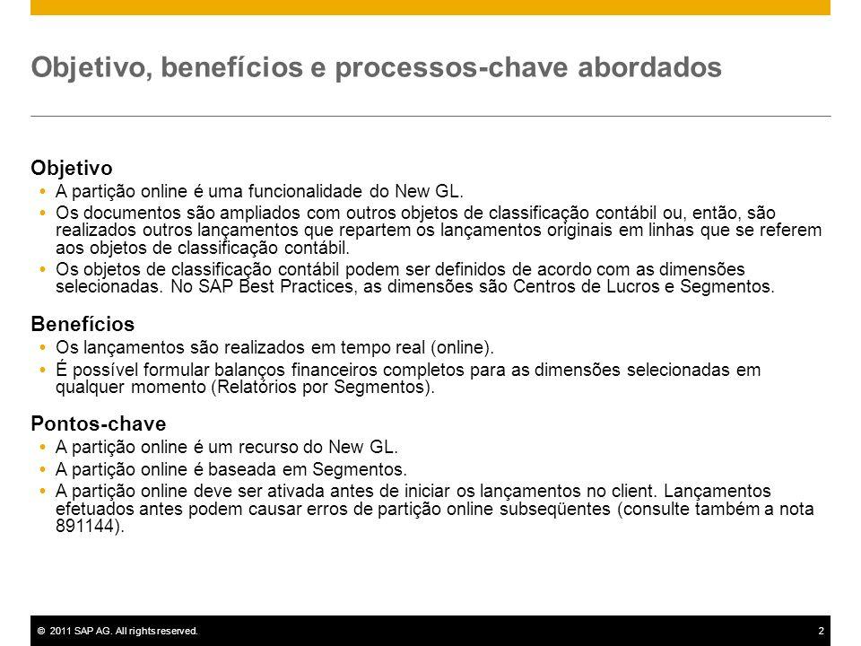 ©2011 SAP AG. All rights reserved.2 Objetivo, benefícios e processos-chave abordados Objetivo A partição online é uma funcionalidade do New GL. Os doc