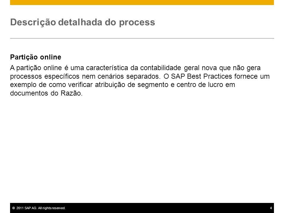 ©2011 SAP AG. All rights reserved.4 Descrição detalhada do process Partição online A partição online é uma característica da contabilidade geral nova