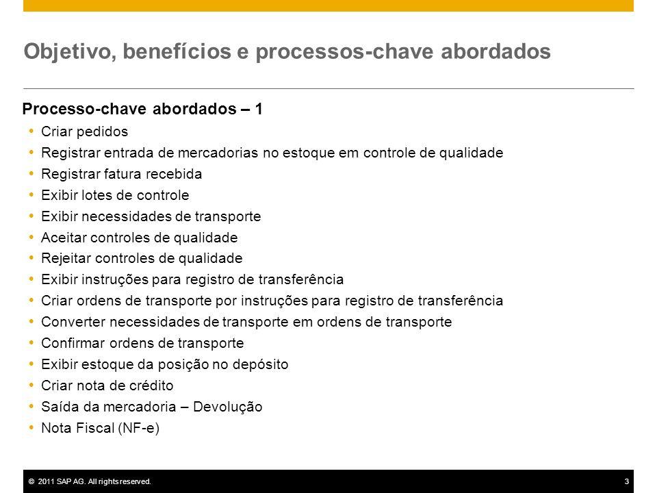 ©2011 SAP AG. All rights reserved.3 Objetivo, benefícios e processos-chave abordados Processo-chave abordados – 1 Criar pedidos Registrar entrada de m