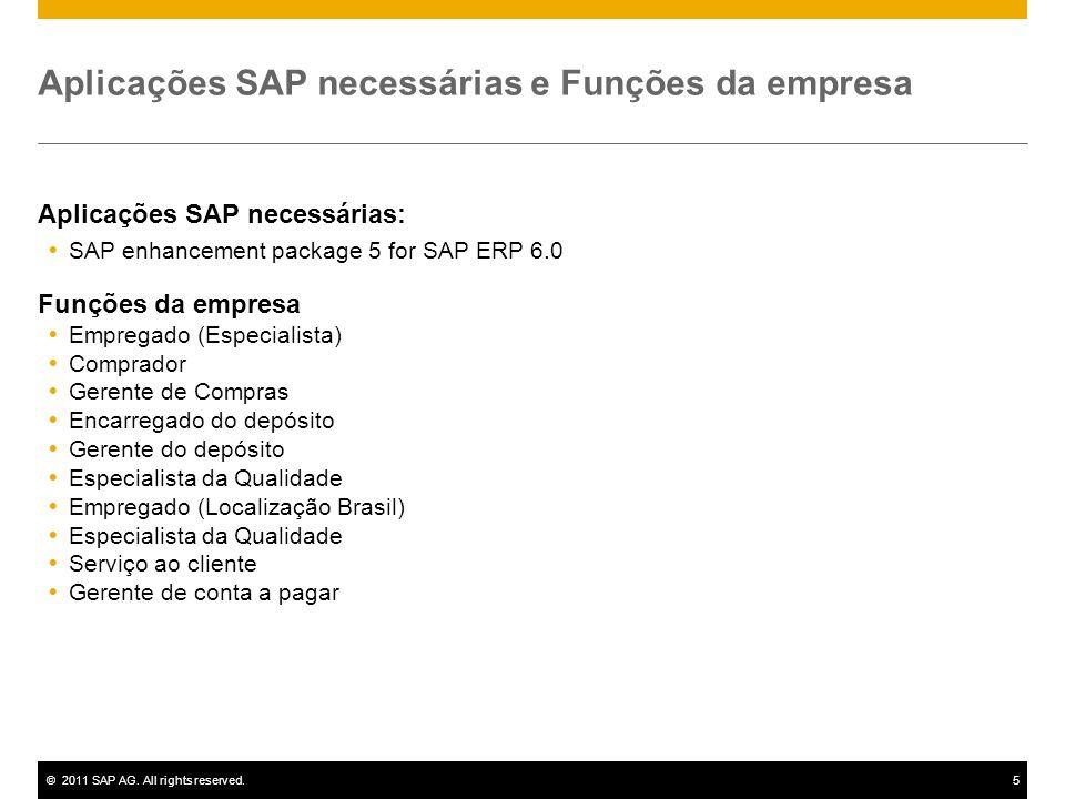 ©2011 SAP AG. All rights reserved.5 Aplicações SAP necessárias e Funções da empresa Aplicações SAP necessárias: SAP enhancement package 5 for SAP ERP