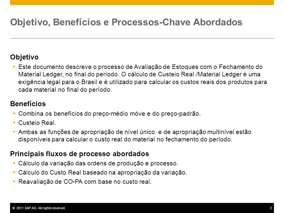 ©2011 SAP AG. All rights reserved.2 Objetivo, Benefícios e Processos-Chave Abordados Objetivo Este documento descreve o processo de Avaliação de Estoq