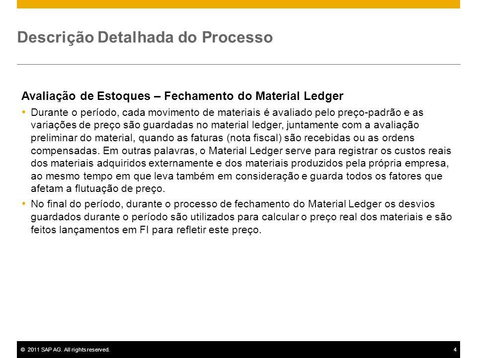©2011 SAP AG. All rights reserved.4 Descrição Detalhada do Processo Avaliação de Estoques – Fechamento do Material Ledger Durante o período, cada movi