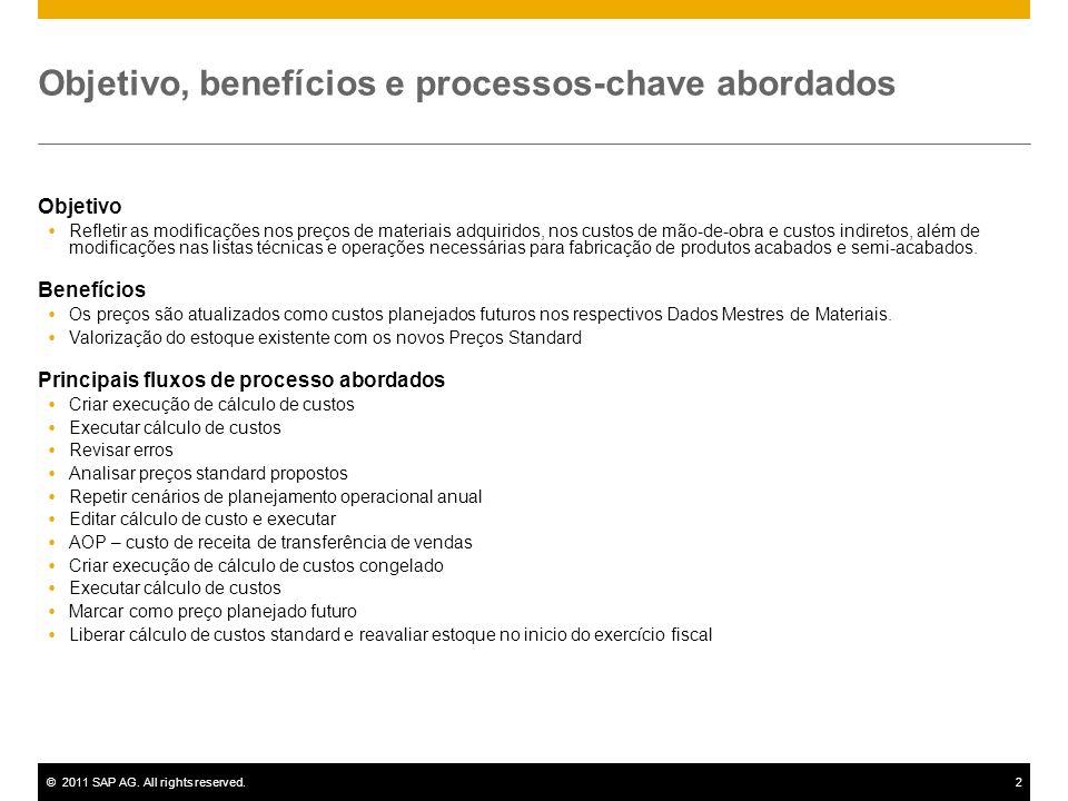 ©2011 SAP AG. All rights reserved.2 Objetivo, benefícios e processos-chave abordados Objetivo Refletir as modificações nos preços de materiais adquiri