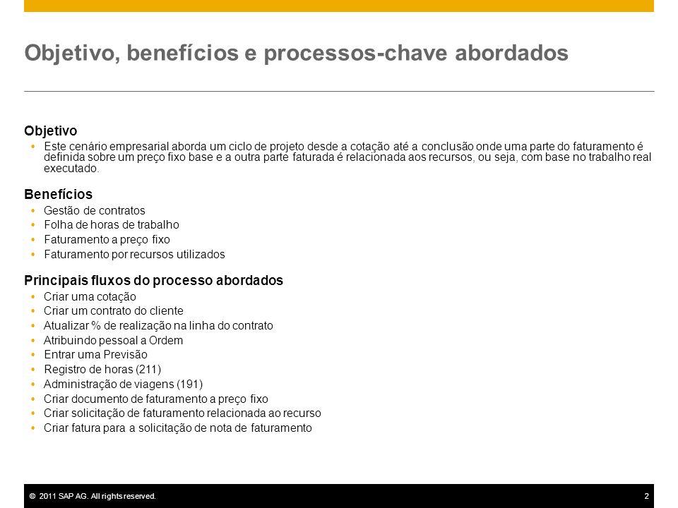 ©2011 SAP AG. All rights reserved.2 Objetivo, benefícios e processos-chave abordados Objetivo Este cenário empresarial aborda um ciclo de projeto desd