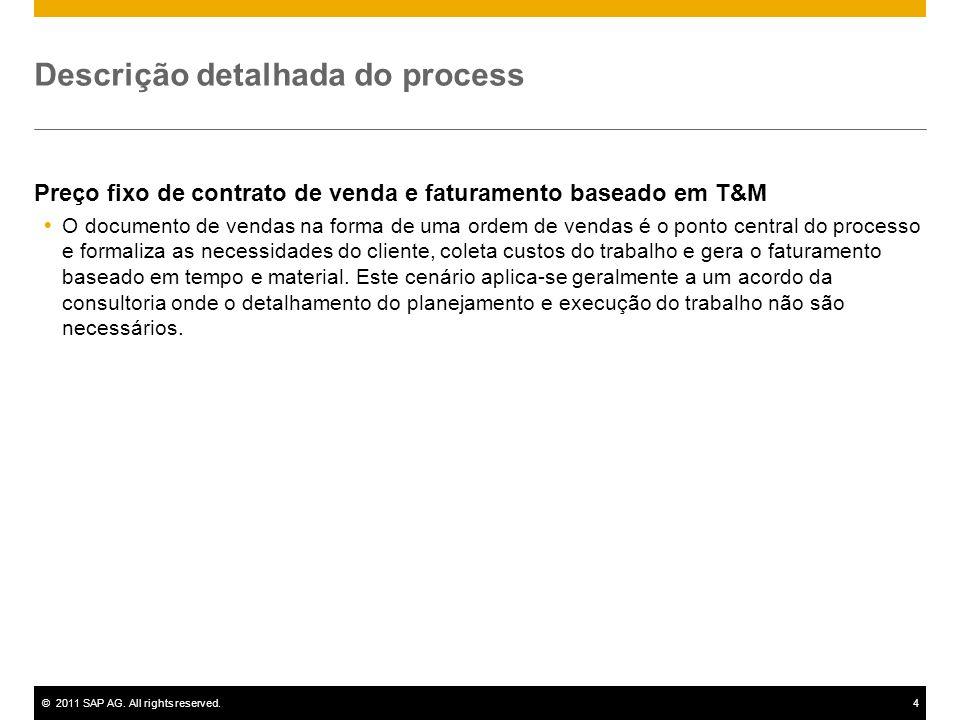 ©2011 SAP AG. All rights reserved.4 Descrição detalhada do process Preço fixo de contrato de venda e faturamento baseado em T&M O documento de vendas