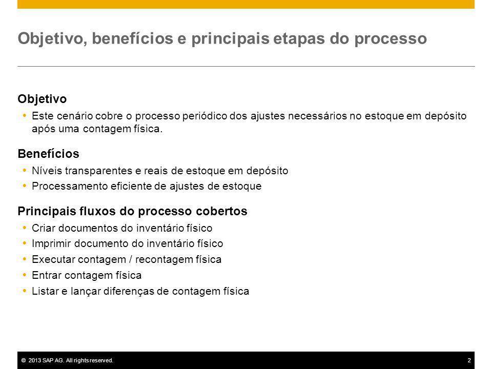 ©2013 SAP AG. All rights reserved.2 Objetivo, benefícios e principais etapas do processo Objetivo Este cenário cobre o processo periódico dos ajustes