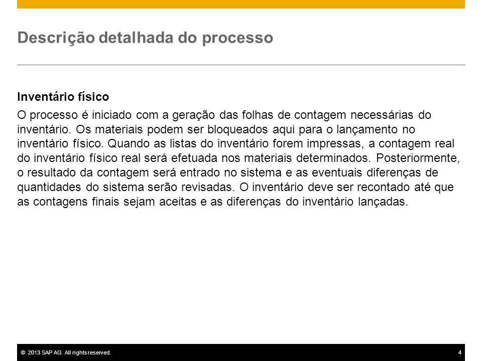 ©2013 SAP AG. All rights reserved.4 Descrição detalhada do processo Inventário físico O processo é iniciado com a geração das folhas de contagem neces