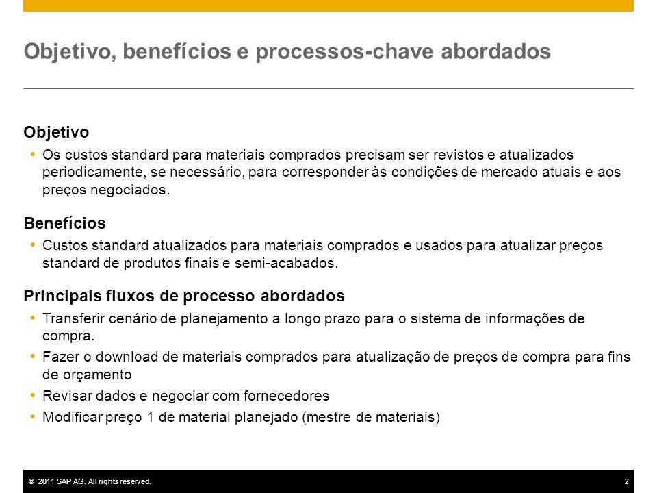©2011 SAP AG. All rights reserved.2 Objetivo, benefícios e processos-chave abordados Objetivo Os custos standard para materiais comprados precisam ser