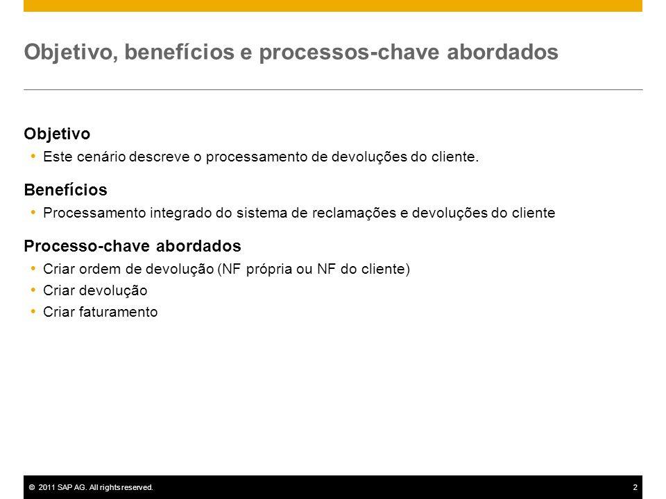 ©2011 SAP AG. All rights reserved.2 Objetivo, benefícios e processos-chave abordados Objetivo Este cenário descreve o processamento de devoluções do c