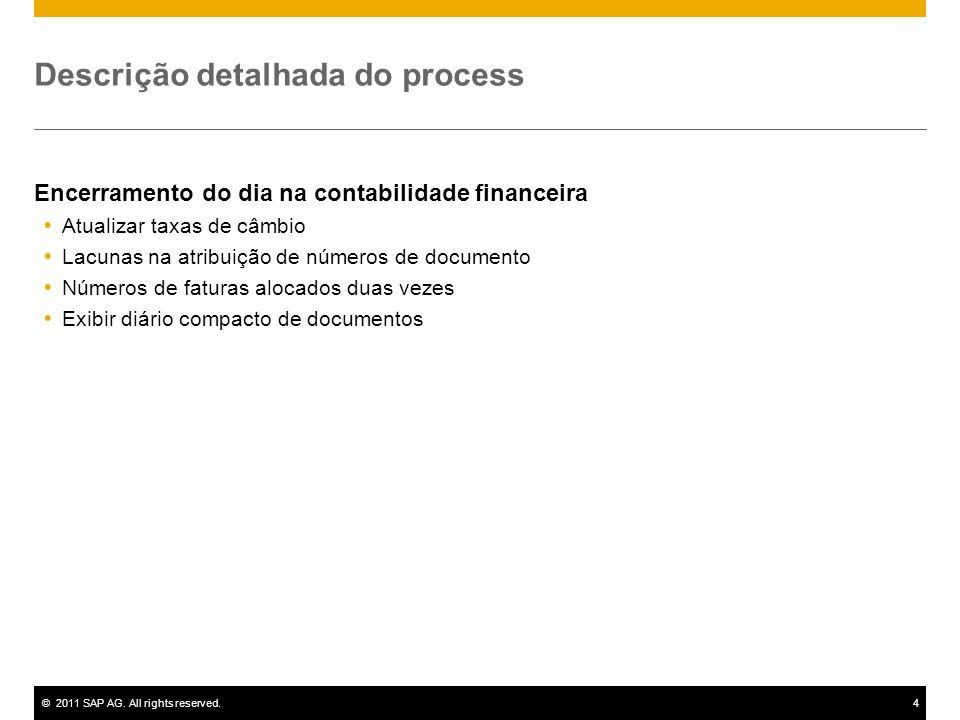 ©2011 SAP AG. All rights reserved.4 Descrição detalhada do process Encerramento do dia na contabilidade financeira Atualizar taxas de câmbio Lacunas n