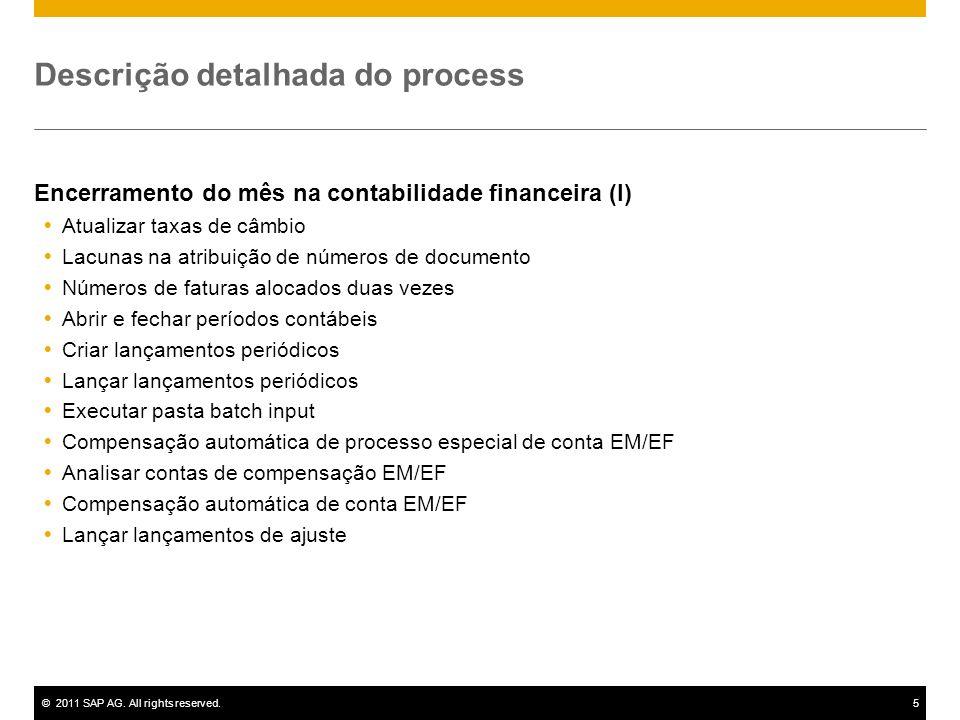 ©2011 SAP AG. All rights reserved.5 Descrição detalhada do process Encerramento do mês na contabilidade financeira (I) Atualizar taxas de câmbio Lacun