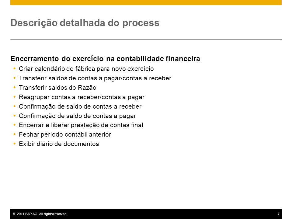 ©2011 SAP AG. All rights reserved.7 Descrição detalhada do process Encerramento do exercício na contabilidade financeira Criar calendário de fábrica p
