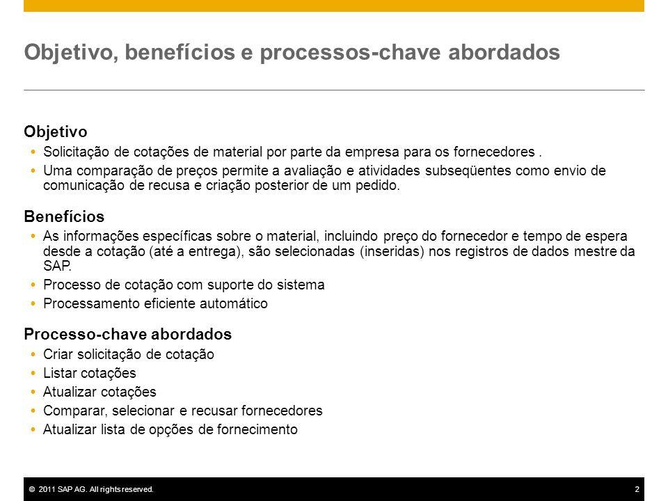 ©2011 SAP AG. All rights reserved.2 Objetivo, benefícios e processos-chave abordados Objetivo Solicitação de cotações de material por parte da empresa