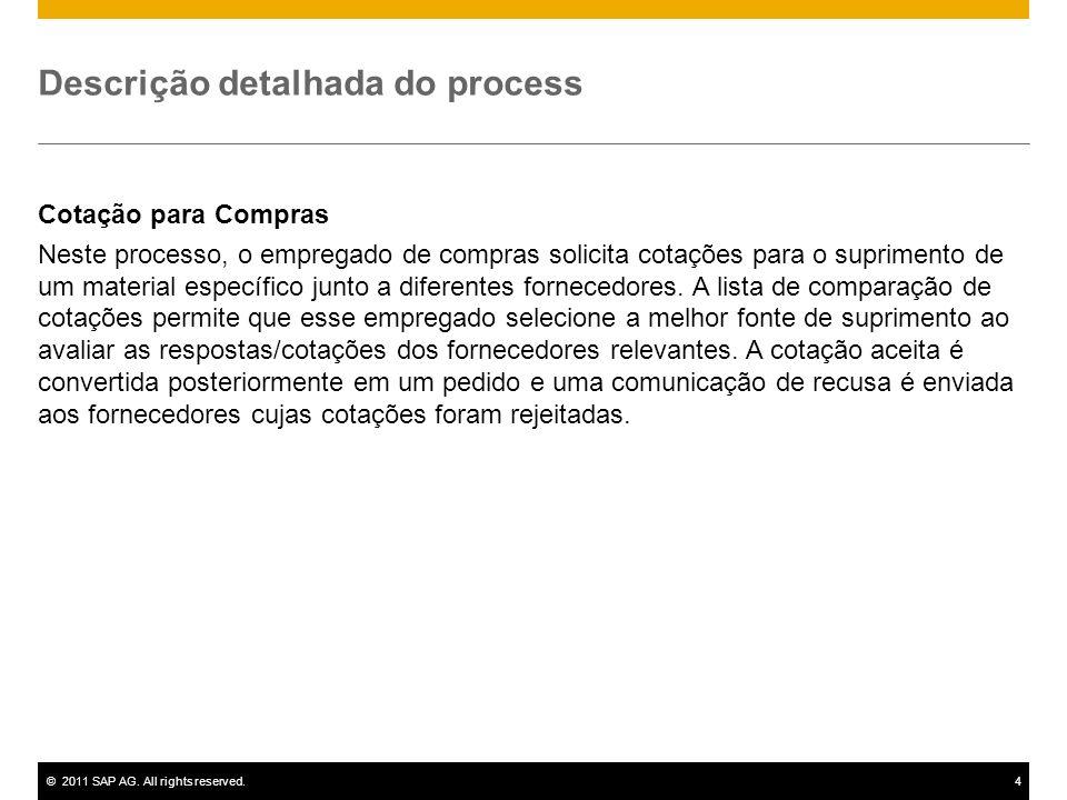 ©2011 SAP AG. All rights reserved.4 Descrição detalhada do process Cotação para Compras Neste processo, o empregado de compras solicita cotações para