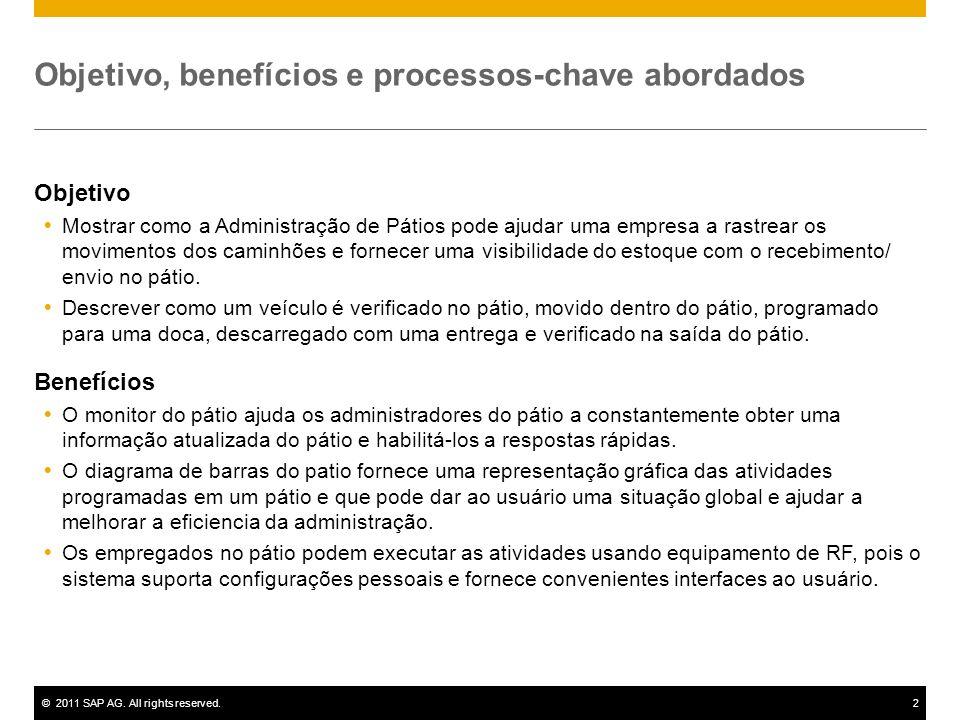 ©2011 SAP AG. All rights reserved.2 Objetivo, benefícios e processos-chave abordados Objetivo Mostrar como a Administração de Pátios pode ajudar uma e