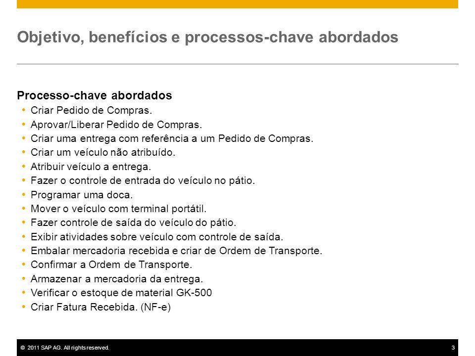 ©2011 SAP AG. All rights reserved.3 Objetivo, benefícios e processos-chave abordados Processo-chave abordados Criar Pedido de Compras. Aprovar/Liberar