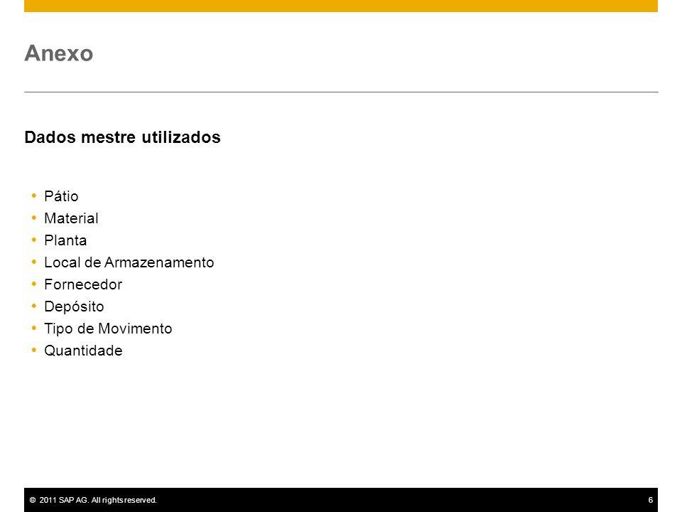 ©2011 SAP AG. All rights reserved.6 Anexo Dados mestre utilizados Pátio Material Planta Local de Armazenamento Fornecedor Depósito Tipo de Movimento Q
