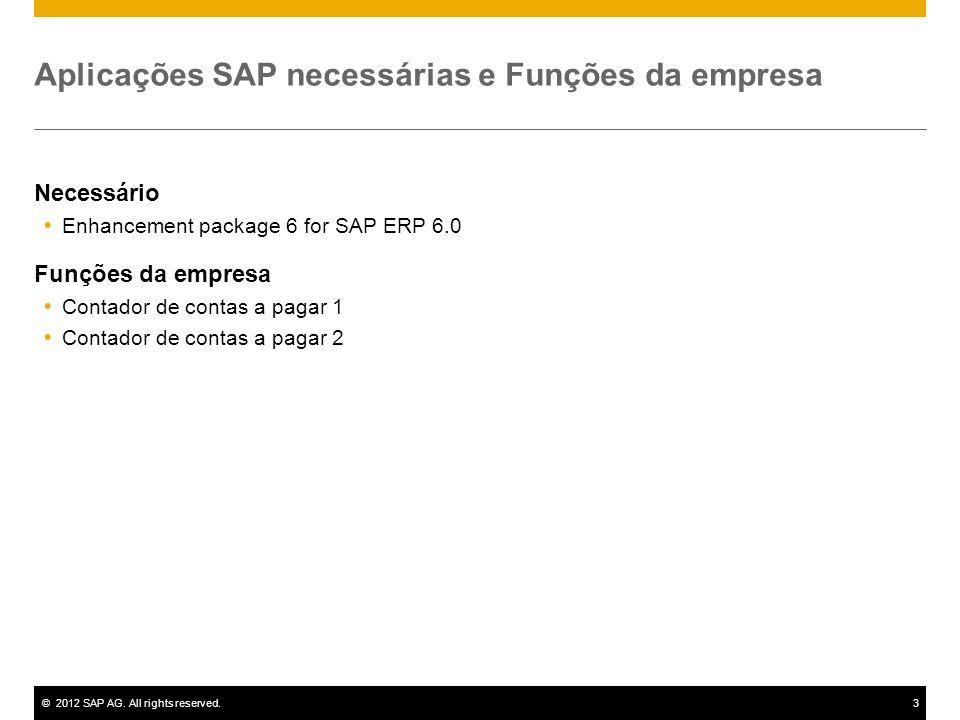 ©2012 SAP AG. All rights reserved.3 Aplicações SAP necessárias e Funções da empresa Necessário Enhancement package 6 for SAP ERP 6.0 Funções da empres