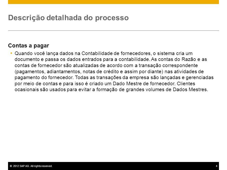 ©2012 SAP AG. All rights reserved.4 Descrição detalhada do processo Contas a pagar Quando você lança dados na Contabilidade de fornecedores, o sistema