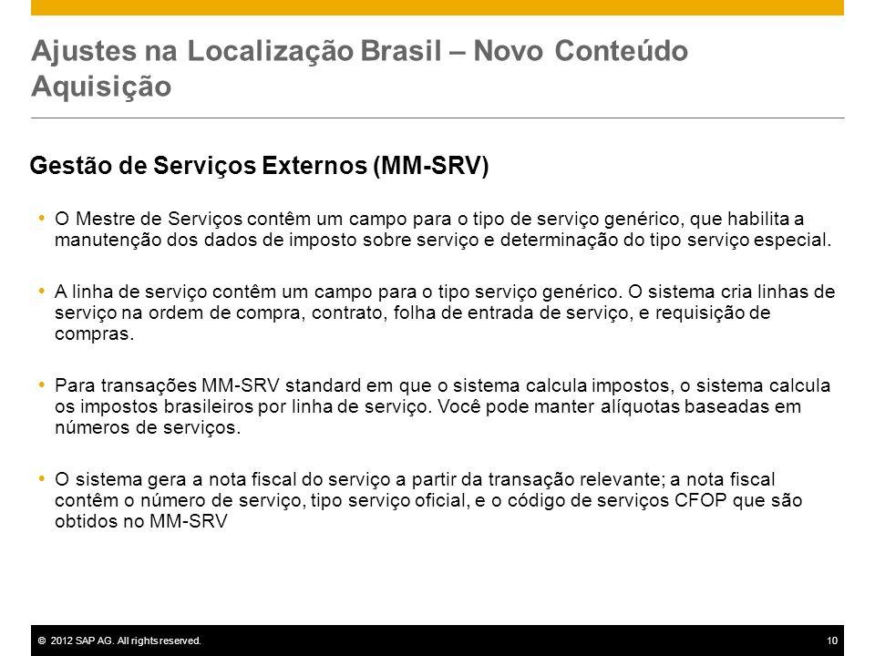 ©2012 SAP AG. All rights reserved.10 Ajustes na Localização Brasil – Novo Conteúdo Aquisição Gestão de Serviços Externos (MM-SRV) O Mestre de Serviços