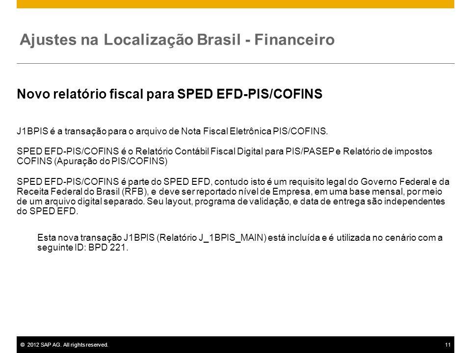 ©2012 SAP AG. All rights reserved.11 Novo relatório fiscal para SPED EFD-PIS/COFINS J1BPIS é a transação para o arquivo de Nota Fiscal Eletrônica PIS/