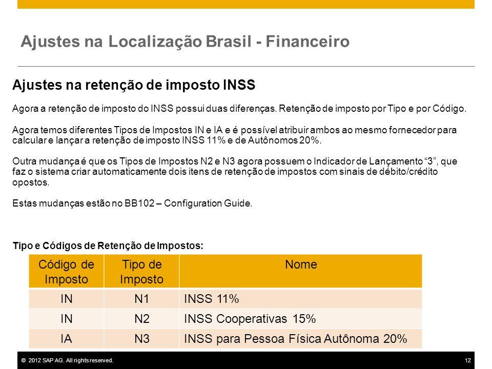 ©2012 SAP AG. All rights reserved.12 Ajustes na retenção de imposto INSS Agora a retenção de imposto do INSS possui duas diferenças. Retenção de impos