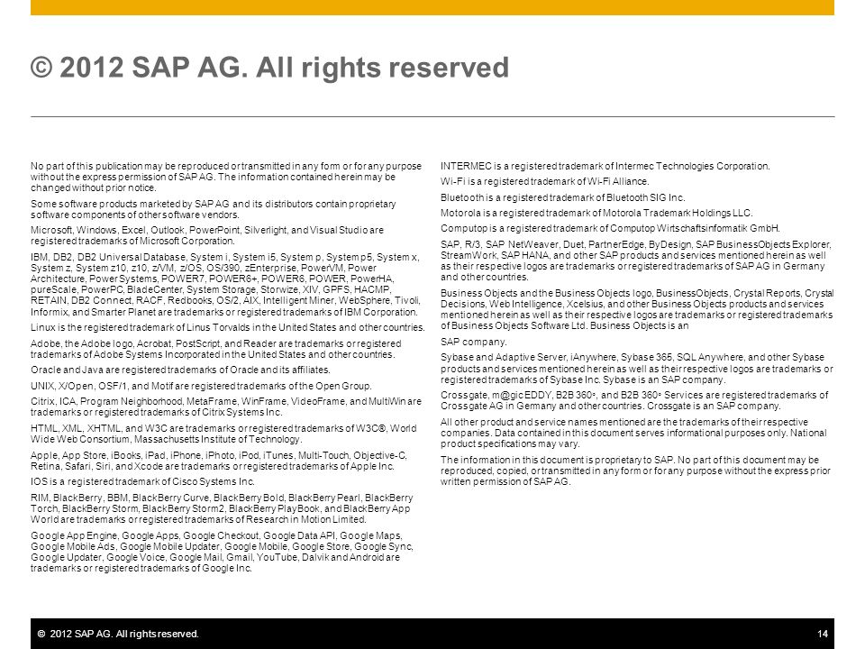 ©2012 SAP AG. All rights reserved.14 No part of this publication may be reproduced or transmitted in any form or for any purpose without the express p