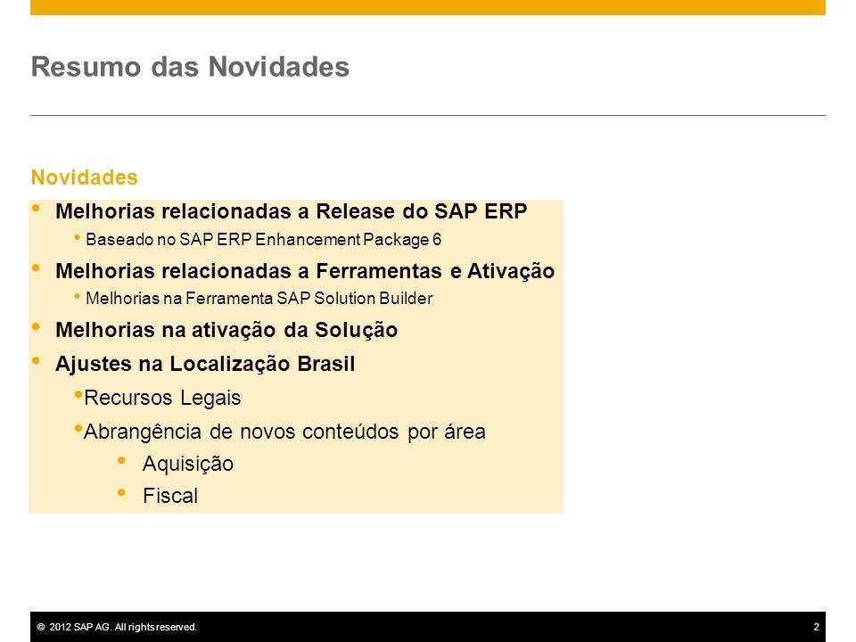 ©2012 SAP AG. All rights reserved.2 Novidades Melhorias relacionadas a Release do SAP ERP Baseado no SAP ERP Enhancement Package 6 Melhorias relaciona