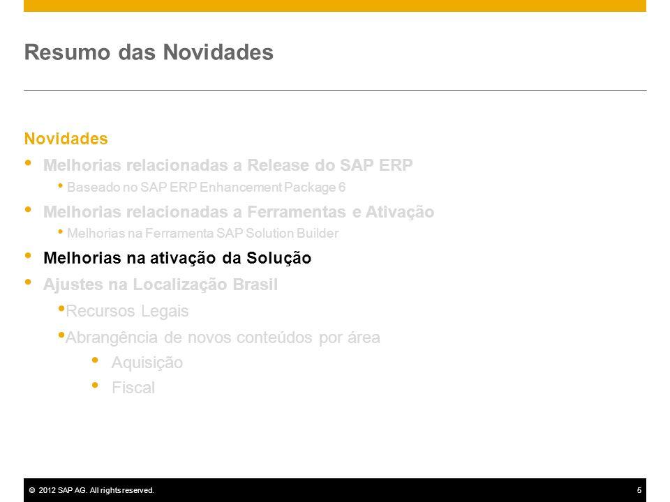 ©2012 SAP AG. All rights reserved.5 Novidades Melhorias relacionadas a Release do SAP ERP Baseado no SAP ERP Enhancement Package 6 Melhorias relaciona