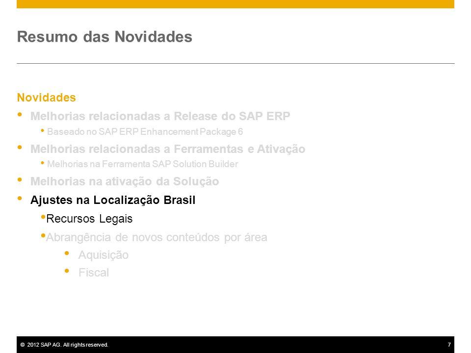 ©2012 SAP AG. All rights reserved.7 Novidades Melhorias relacionadas a Release do SAP ERP Baseado no SAP ERP Enhancement Package 6 Melhorias relaciona