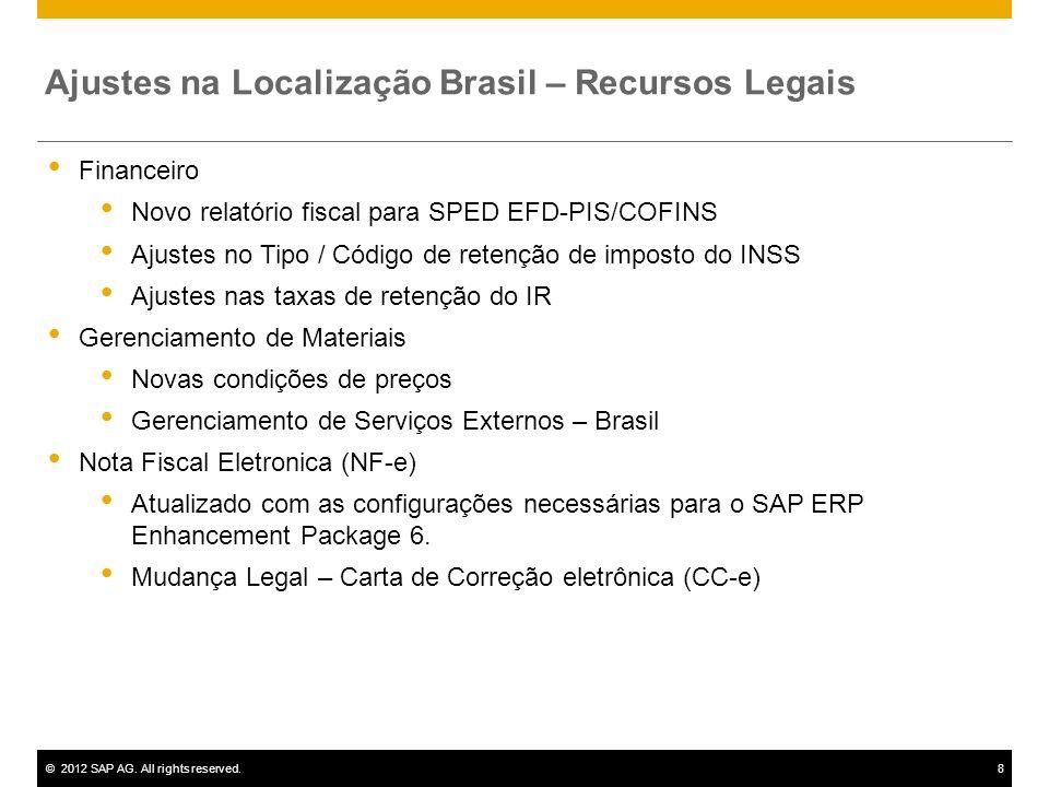 ©2012 SAP AG. All rights reserved.8 Ajustes na Localização Brasil – Recursos Legais Financeiro Novo relatório fiscal para SPED EFD-PIS/COFINS Ajustes