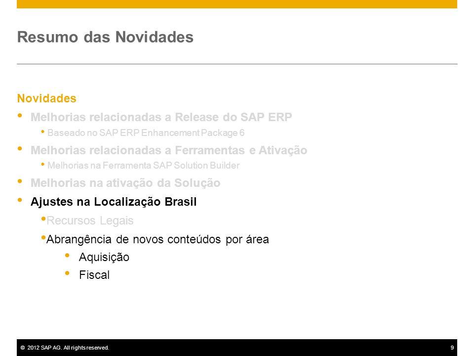 ©2012 SAP AG. All rights reserved.9 Novidades Melhorias relacionadas a Release do SAP ERP Baseado no SAP ERP Enhancement Package 6 Melhorias relaciona