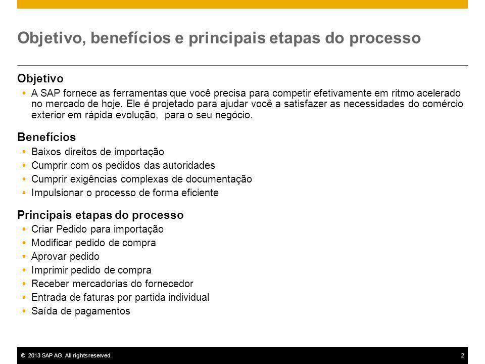 ©2013 SAP AG. All rights reserved.2 Objetivo, benefícios e principais etapas do processo Objetivo A SAP fornece as ferramentas que você precisa para c