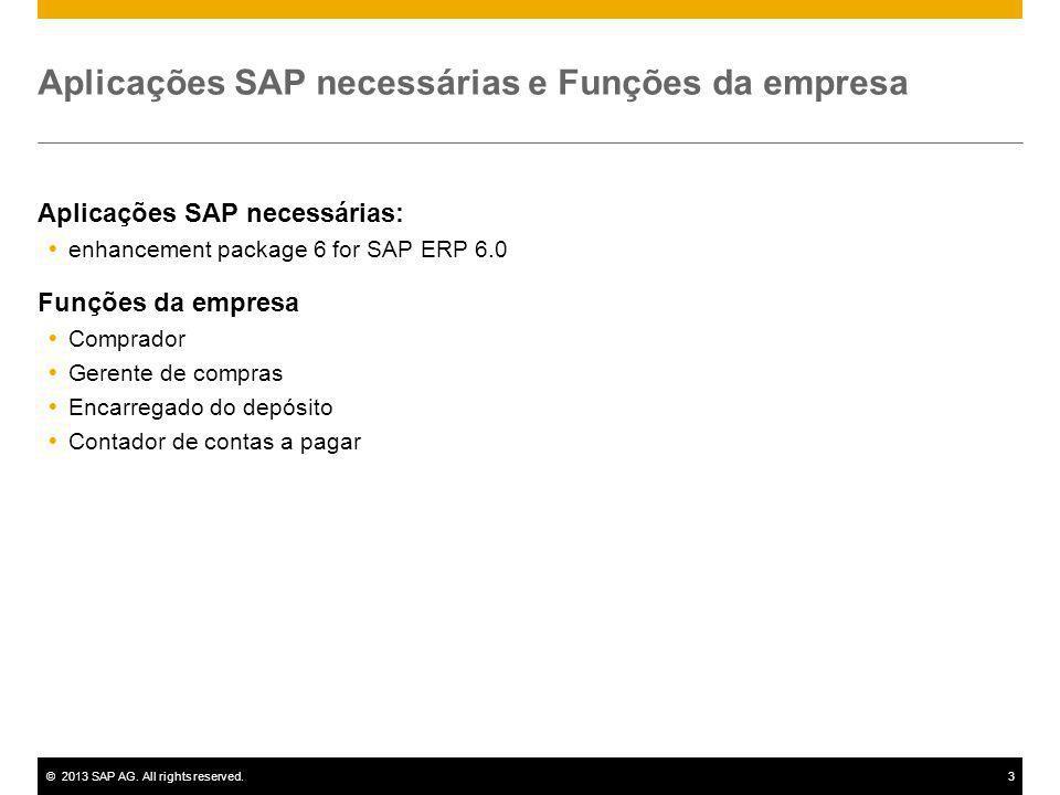 ©2013 SAP AG. All rights reserved.3 Aplicações SAP necessárias e Funções da empresa Aplicações SAP necessárias: enhancement package 6 for SAP ERP 6.0