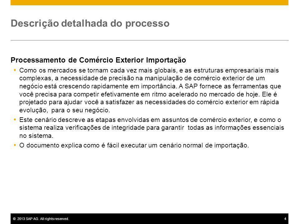 ©2013 SAP AG. All rights reserved.4 Descrição detalhada do processo Processamento de Comércio Exterior Importação Como os mercados se tornam cada vez