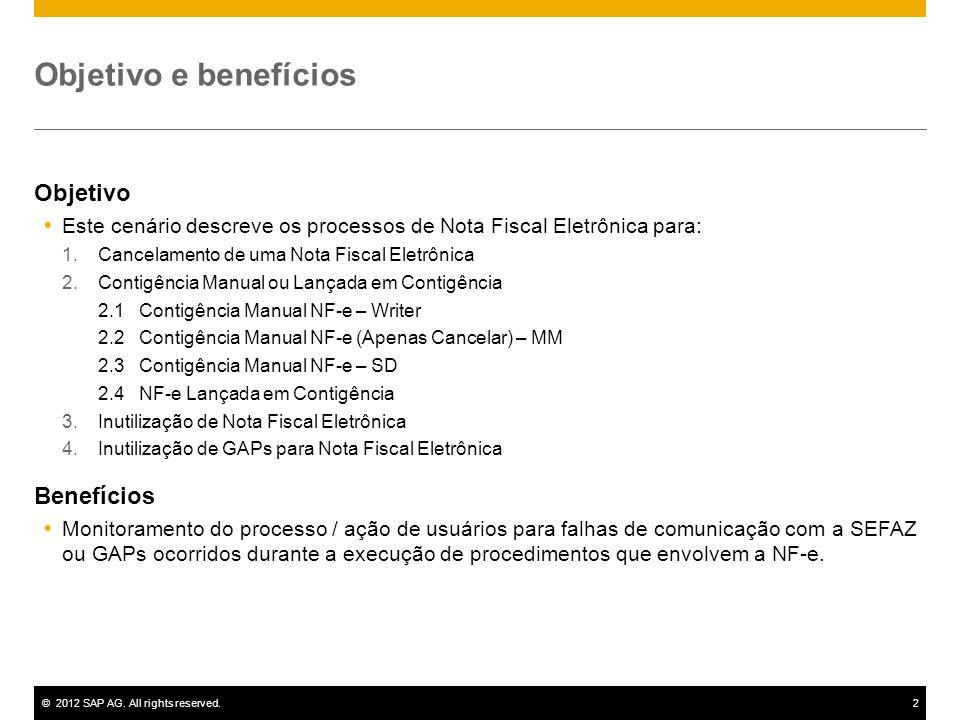 ©2012 SAP AG. All rights reserved.2 Objetivo e benefícios Objetivo Este cenário descreve os processos de Nota Fiscal Eletrônica para: 1.Cancelamento d