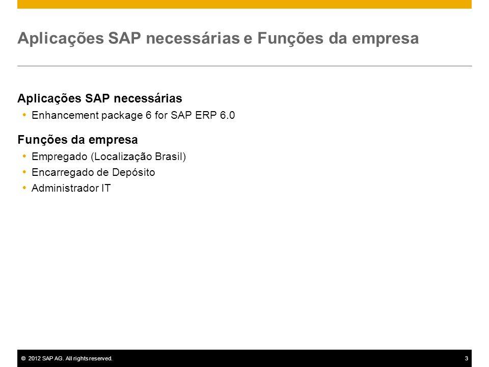 ©2012 SAP AG. All rights reserved.3 Aplicações SAP necessárias e Funções da empresa Aplicações SAP necessárias Enhancement package 6 for SAP ERP 6.0 F