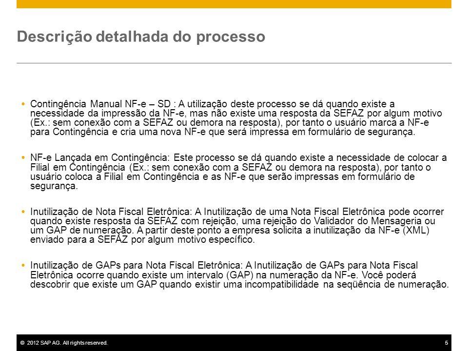 ©2012 SAP AG. All rights reserved.5 Descrição detalhada do processo Contingência Manual NF-e – SD : A utilização deste processo se dá quando existe a