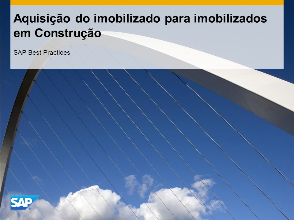 Aquisição do imobilizado para imobilizados em Construção SAP Best Practices