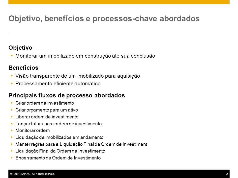 ©2011 SAP AG. All rights reserved.2 Objetivo, benefícios e processos-chave abordados Objetivo Monitorar um imobilizado em construção até sua conclusão